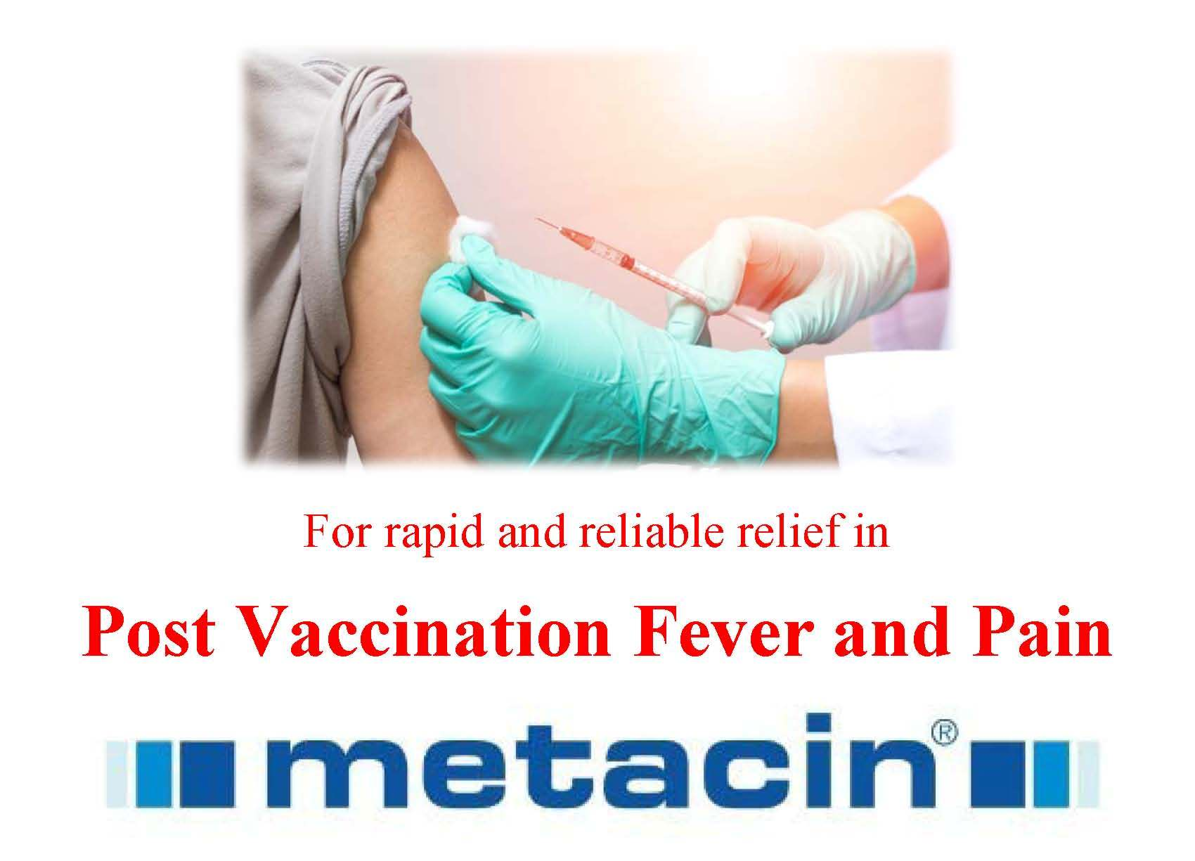 Metacin in Post Vaccination Fever and Pain